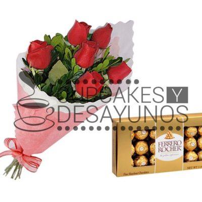 Ramo 6 rosas + bombones